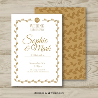 Wedding anniversary card with floral ornaments in hand drawn style