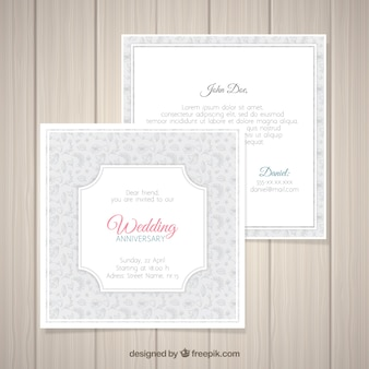 Wedding anniversary card with floral pattern