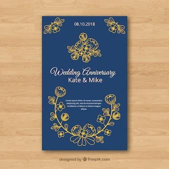 Carta di anniversario di matrimonio con fiori in stile dorato