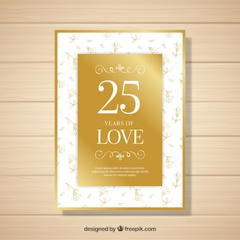 Wedding anniversary card with flowers in golden style