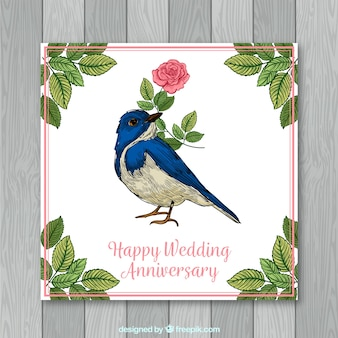 Wedding anniversary card with flowers in hand drawn style