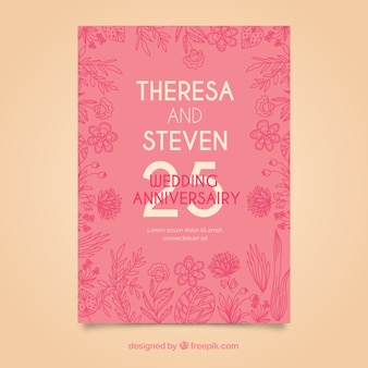 Wedding anniversary card with flowers