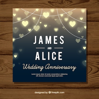 Wedding anniversary card with hearts