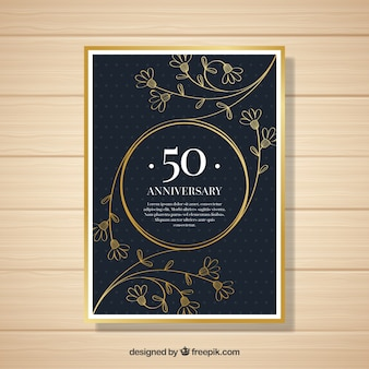 Wedding anniversary card with ornaments in golden style