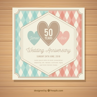 Wedding anniversary card with pattern