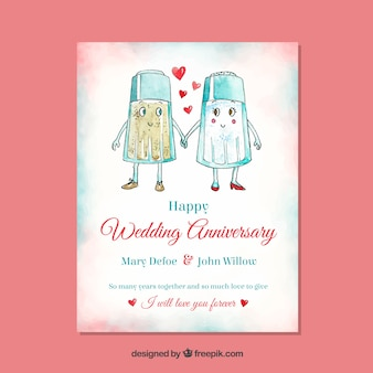 Wedding anniversary card with salt and pepper