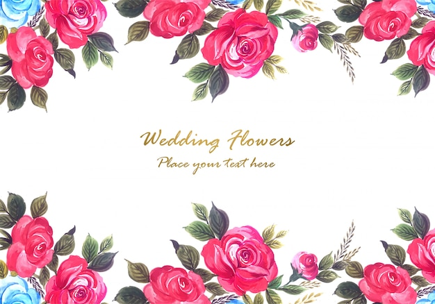 Wedding anniversary colorful flowers frame background