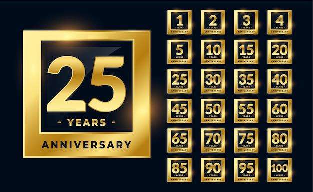 Grande set di etichette d'oro per l'anniversario di matrimonio