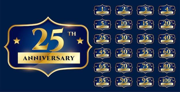 Set di design per etichette d'oro per l'anniversario di matrimonio