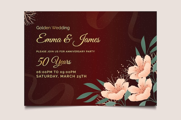 Wedding anniversary horizontal card template