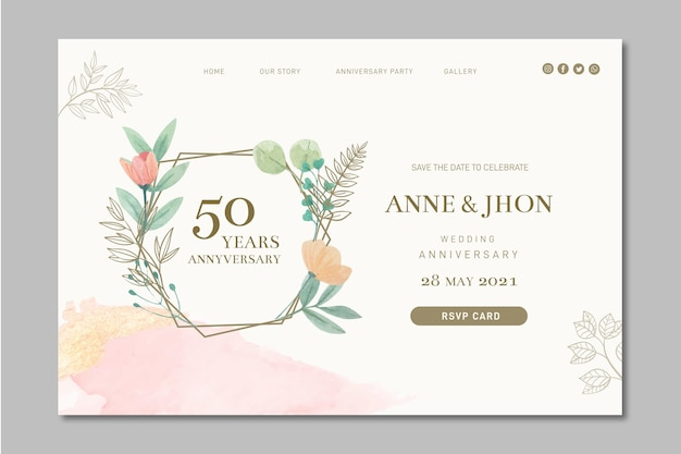 Wedding anniversary landing page