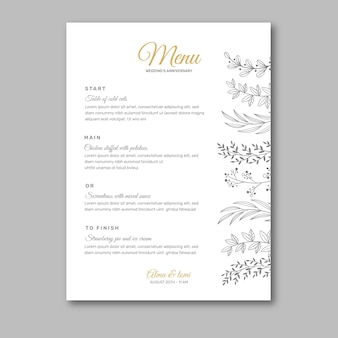 Шаблон меню годовщины свадьбы