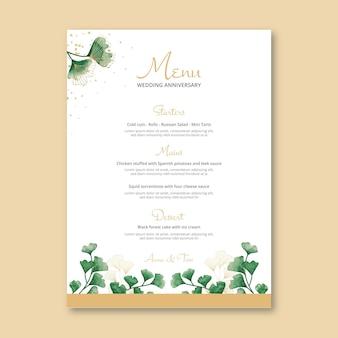 Wedding anniversary menu template