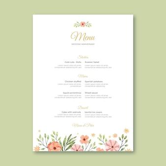 Modello di menu anniversario di matrimonio