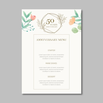Wedding anniversary menu