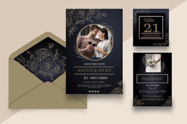 Wedding anniversary stationery collection Premium Vector