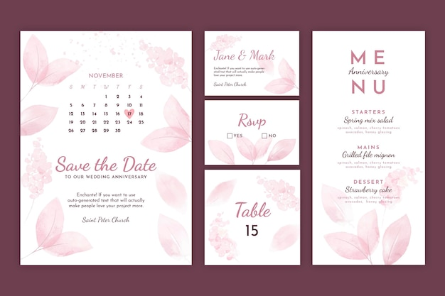 Wedding anniversary stationery collection