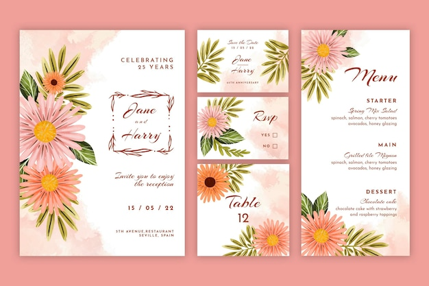Wedding anniversary stationery set