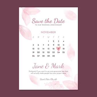 Wedding anniversary vertical card template