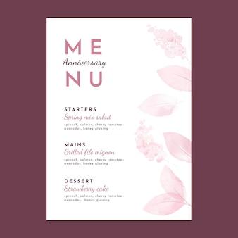 Modello di menu verticale anniversario di matrimonio