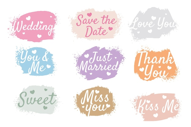 Wedding anniversary watercolor tags set of nine