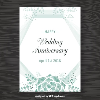 Wedding anniversaty card with flowers