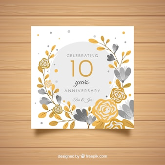 Wedding anniversaty card with golden flowers