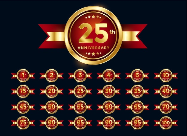 Set di etichette rosse per l'anniversario di matrimonio