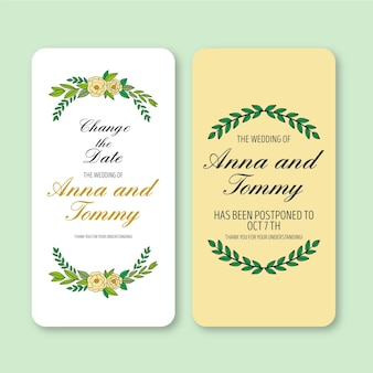Wedding announcement for changing the date mobile format