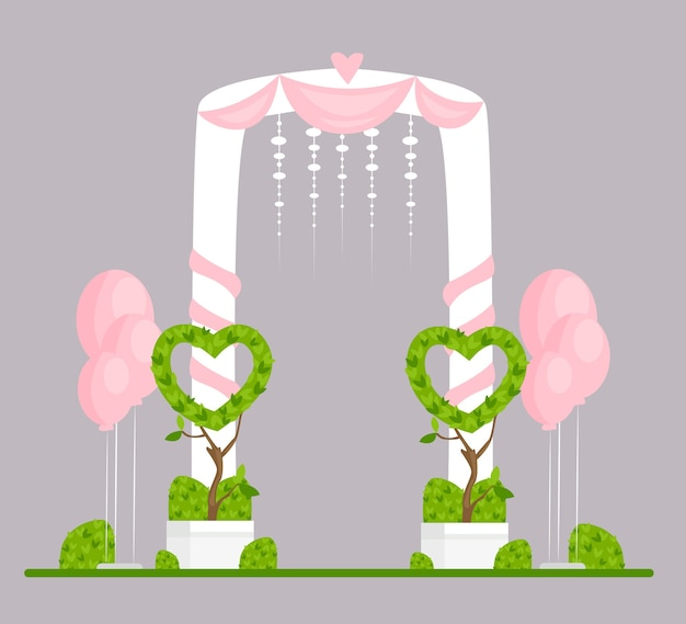 Wedding arch flat illustration. engagement ceremony isolated design element. marriage event festive decor. ceremonial archway decorated with white curtains, pink hearts and balloons.