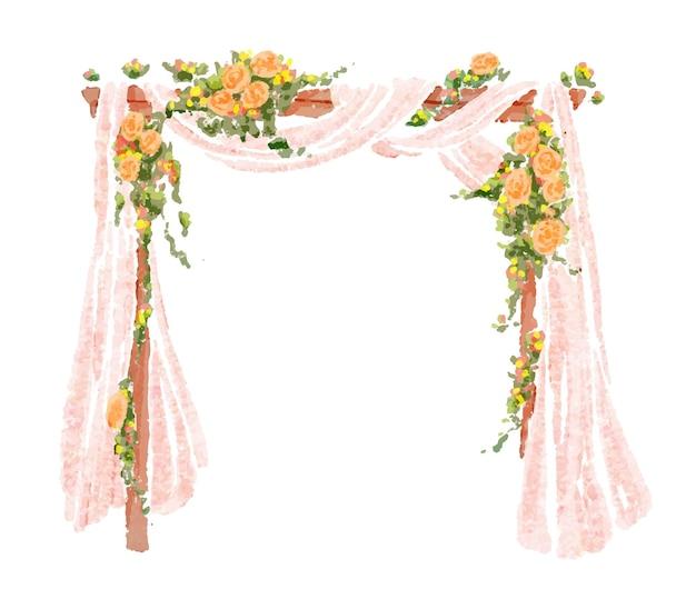 花のイラストと結婚式のアーチ