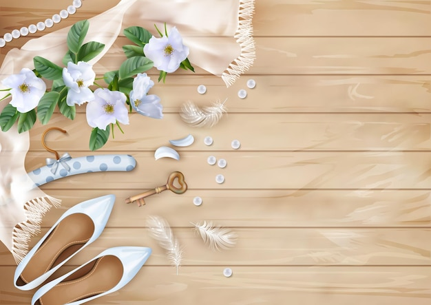 Wedding background with white flowers, shoes, feathers, silk scarf, pearl beads on a wooden floor