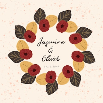 Wedding badge with autumn floral frame
