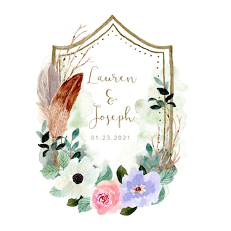 Wedding badge with beautiful rustic floral watercolor frame