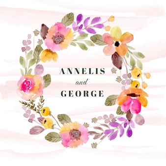 Wedding badge with colorful floral wreath watercolor