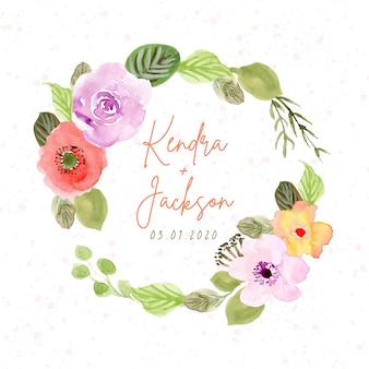Wedding badge with floral wreath watercolor