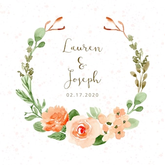 Wedding badge with pretty flower watercolor wreath