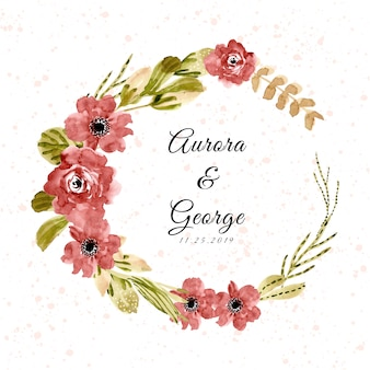 Wedding badge with red green watercolor floral wreath