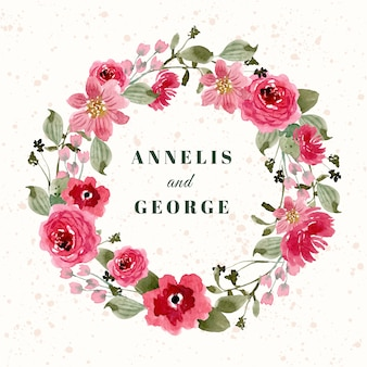 Wedding badge with red pink floral watercolor wreath