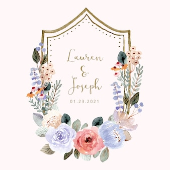 Wedding badge with soft floral watercolor frame