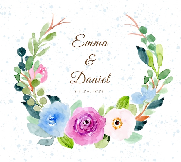 Wedding badge with sweet flower watercolor wreath