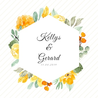 Wedding badge with watercolor floral frame