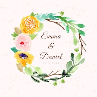 Wedding badge with watercolor flower frame