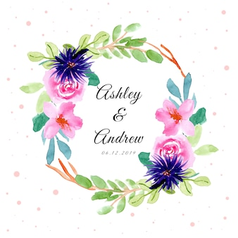 Wedding badge with watercolor pretty floral frame