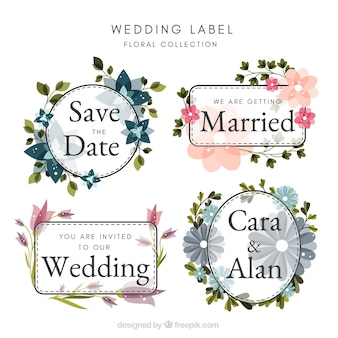Wedding badges collection with floral design