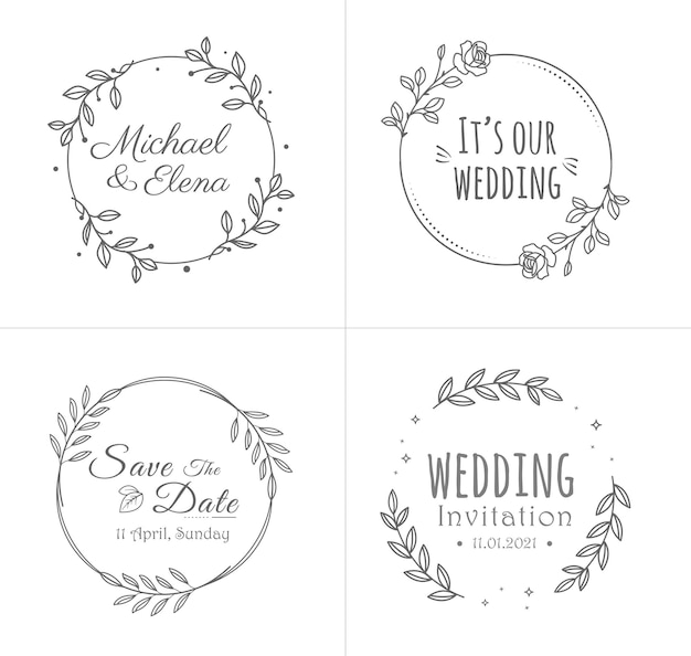 Wedding badges collection with flower frames