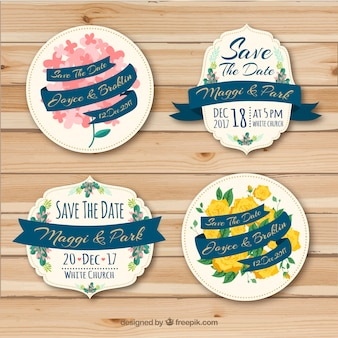 Wedding badges with lovely flowers