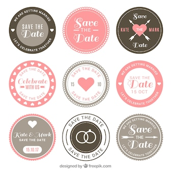 Wedding badges with retro style