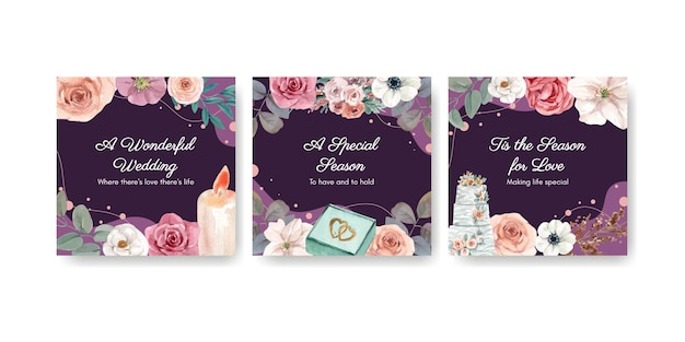 Wedding banner template in watercolor style