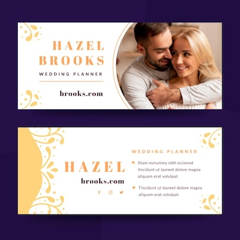 Wedding banner template with photo